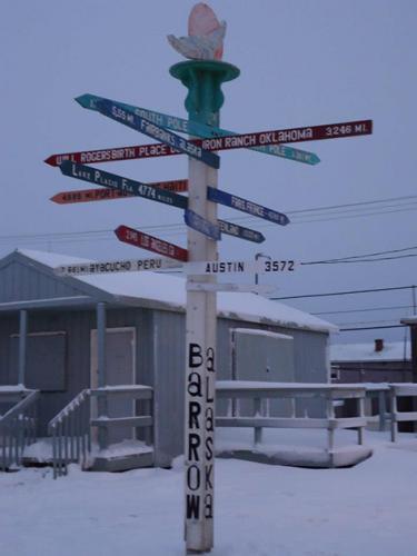Directional sign in Barrow, Alaska.