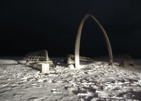 Barrow, Alaska, bowhead whale bone monument to lost sailors.