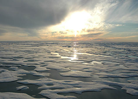 Ice and open water in the Beaufort Sea north of Alaska.