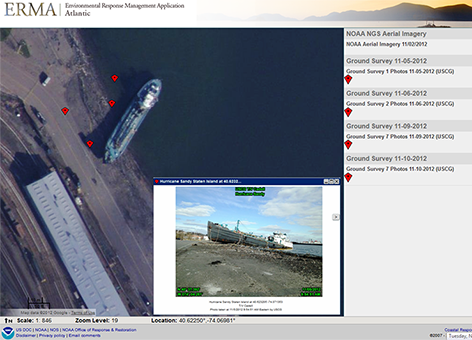 Atlantic ERMA view of grounded tanker after Post Tropical Cyclone Sandy.