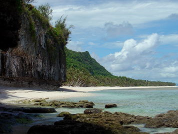 Eroding coral rock, wave undercut cliffs, beach, and jungle in Guam.