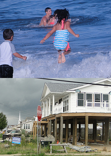 Upper: Children play on the Jersey shore. Lower: Home reconstruction after Sandy