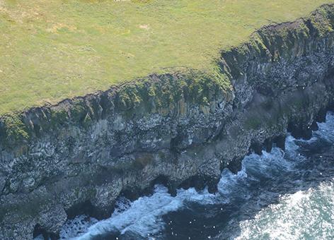 St. Lawrence Island, Alaska, and its dramatic coastal cliffs.
