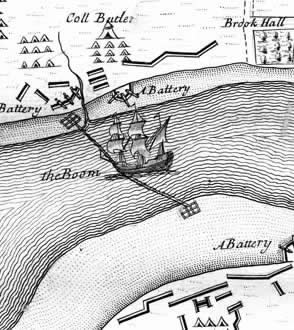 A map drawing showing the use of boom to block ships during a siege.