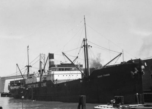 Historical photo of the Coast Trader at port in San Francisco.