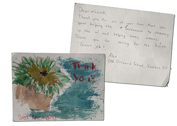 An example of thank you cards sent to oil spill responders in California.