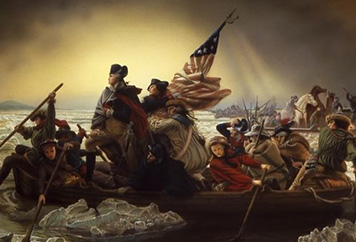 A painting of George Washington and his troops crossing the Delaware River.