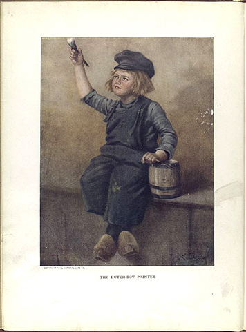 Illustration of a little boy painting used in Dutch Boy paints logo.
