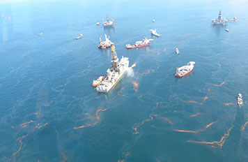 Aerial view of Deepwater Horizon oil spill and response vessels.