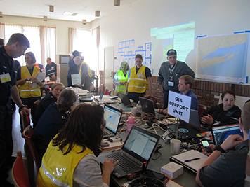 The ERMA team tests the online mapping tool at a simulated oil spill exercise.