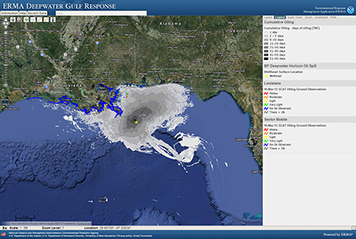 ERMA mapping program showing Gulf of Mexico with Deepwater Horizon oil spill.