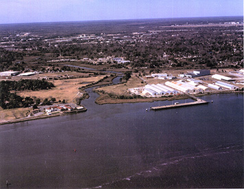 An aerial view of the former Navy base and the Cooper River up Noisette Creek.