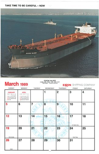 Calendar for March 1989 with image of Exxon Valdez ship.