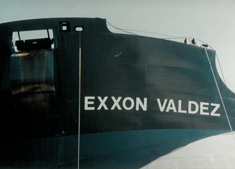 Close-up of ship's name Exxon Valdez.