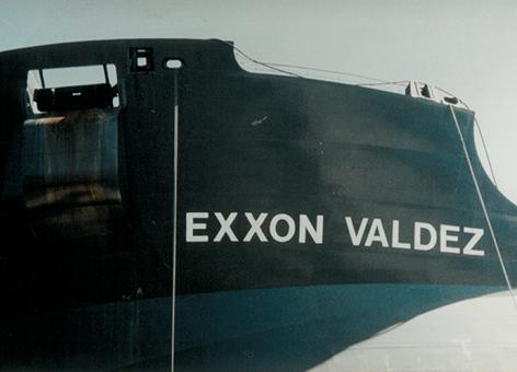 Close-up of ship's name Exxon Valdez.
