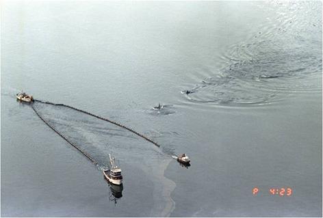 Killer whales swimming alongside skimmers from the Exxon Valdez oil spill.