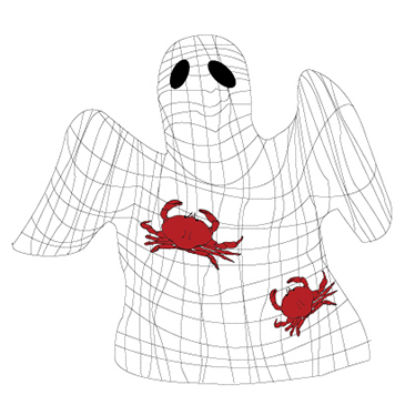 Net with crabs in shape of ghost.