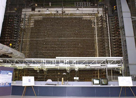 The front face of Hanford's B Reactor, where uranium fuel slugs were loaded.