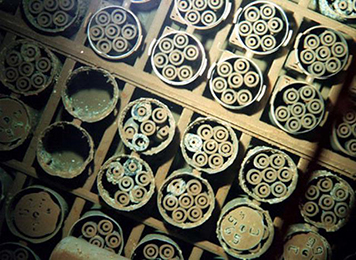 Spent fuel rods stored underwater at the Hanford Nuclear Reservation.