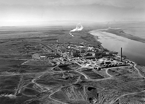 Nuclear reactors line the riverbank at the Hanford Site along the Columbia River