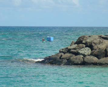 Towing in the 4-by-4-foot plastic seafood storage bin off Oahu.