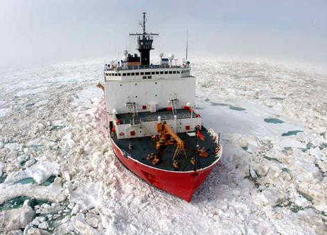 Coast Guard icebreaker in sea ice.