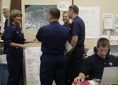 U.S. Coast Guard uses NOAA GIS satellite image map during Hurricane Katrina.