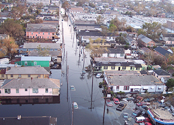 Flooded New Orleans streets after Hurricane Katrina.