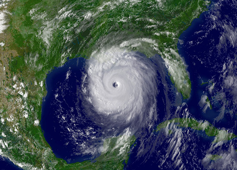 Hurricane Katrina before landfall as visible by satellite in the Gulf of Mexico