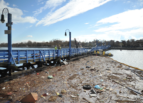 Oily debris field in Sheepshead Bay, N.Y., after Hurricane Sandy