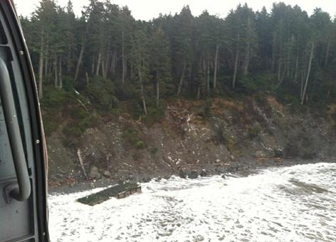 Dock washed up on rocky coast of Washington state.