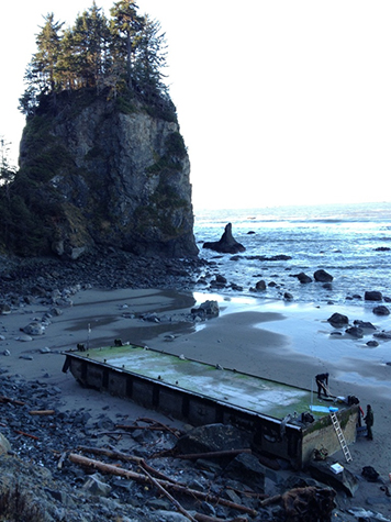 Japanese tsunami dock located on a Washington coast beach.