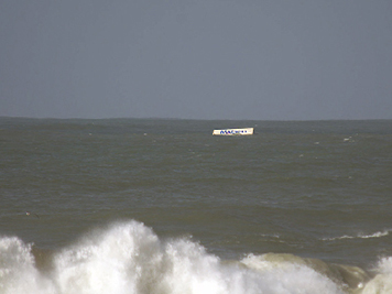 A Matson shipping container floating off the California coast.