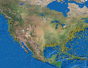 Map showing locations of 20,000 shipwrecks in United States waters.