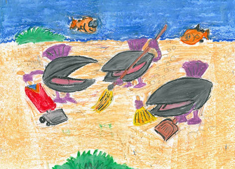 Drawing of clams cleaning the sea floor of debris.