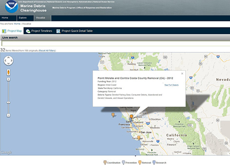 A view of the Marine Debris Clearinghouse map showing NOAA-funded projects.