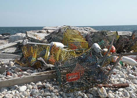 Derelict lobster traps collected from White Island in the Isles of Shoals.