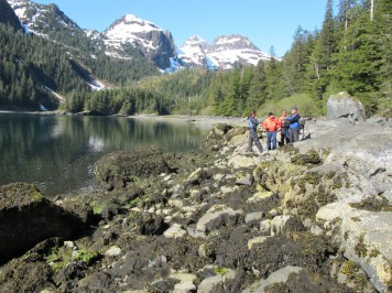 The 2012 study team observes Mearns Rock in Prince William Sound, Alaska.