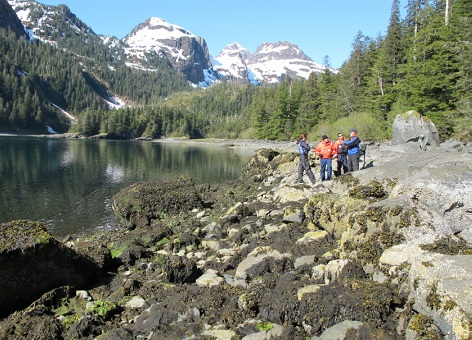 NOAA scientists observe an intertidal boulder in Prince William Sound, Alaska.