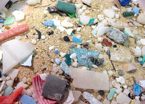 Microplastics in sand.