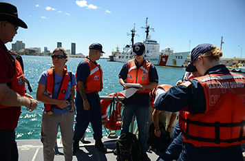 Response team on board Coast Guard ship in Honolulu Harbor.