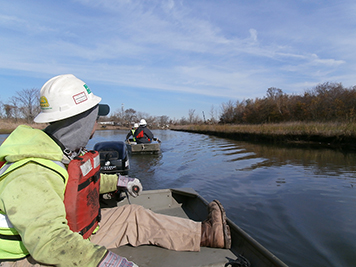 Men driving small boats up a marshy creek in winter.