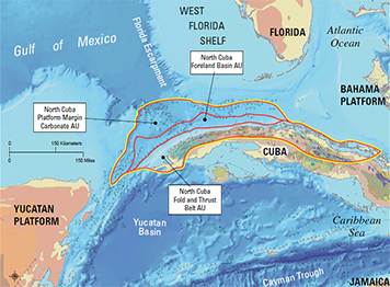 Map of potential oil producing areas in the North Cuban Basin.