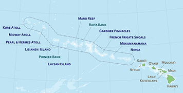 Map of main and Northwestern Hawaiian Islands.