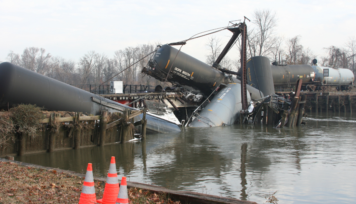 Derailed train cars in Mantua Creek near Paulsboro, N.J.