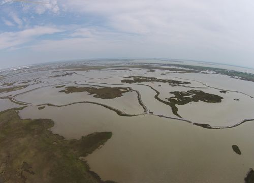 Aerial view of marsh with levees being built.