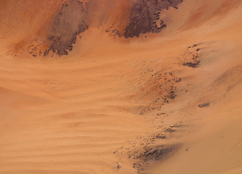 Sahara Desert sand dunes from space.