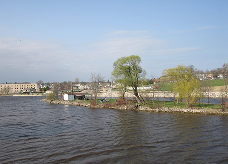 Looking upstream on the Sheboygan River in Wisconsin.