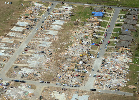 Aerial view of destroyed houses in Vilonia, Arkansas, after EF4 tornado in 2014