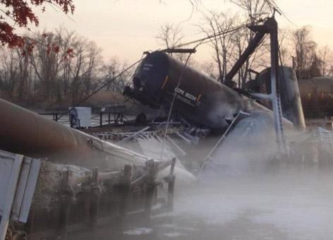Seven train cars derailed when the bridge over the Mantua Creek.